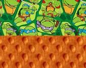 Minky Baby Blanket, Personalized NInja Turtle Orange Green Stroller