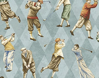 ON THE GREEN Golfers on Argyle Blue  Vintage Golf Themed Fabric- By The Yard- 100% Cotton
