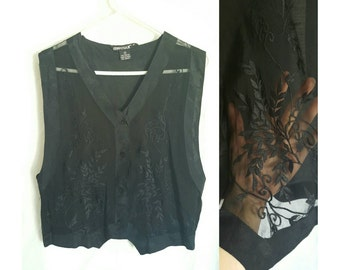 Vintage black lace vest magic goth size small - medium 90s