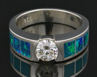 Lab Created Opal Engagement Ring with Forever One Moissanite in Sterling Silver