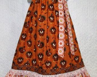 Thanksgiving Dress 6/7 Turkey Orange  Brown Coral Boutique Pillowcase Dress, Pillow Case Dress, Pillowcase Dress
