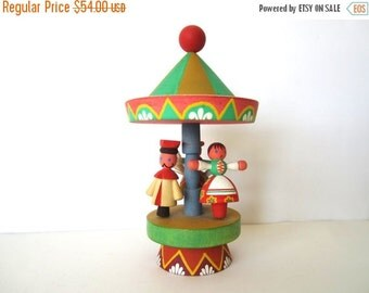 SALE 20% OFF NON-Linens Vintage Wooden Carousel by Miratynski Poland Merry Go Round Wood Figurine