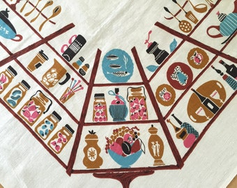 Vintage Linen Tablecloth Kitchen Graphics Square Table Cloth