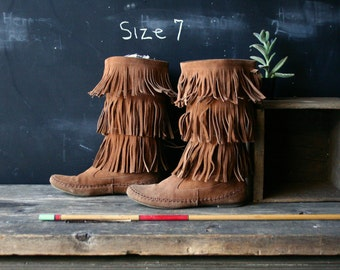 Tall Fringe Moccasins Boots Fit Like US Size 7 Vintage From Nowvintage on Etsy