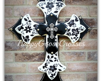 Wall CROSS - Wood Cross - Large - Black & White Floral