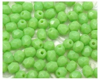 Opaque Lime Green Fire Polish Czech Glass Beads 4mm - 100