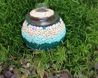 Pebble looking polymer clay glass jar - Free shipping