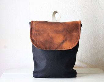 Brown and Black Mini Backpack. Small Backpack Purse. Small Canvas Rucksack. Eco Friendly Purse. Canvas Pack. Eco Bag. Gifts for Her.