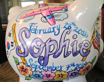 Personalized Piggy Bank Chosen Child Adoption Celebration Design Handpainted
