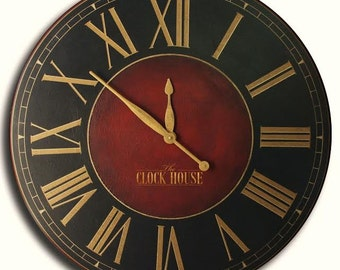 Oversized Wall Clock 30in CHURCHILL FOX Large Clock-Handpainted-Family Heirloom-Wedding Gift-Free Inscription