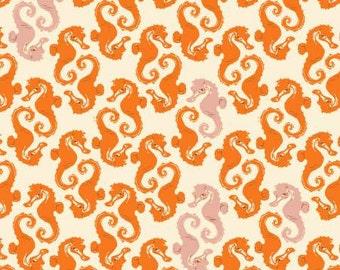 Heather Ross Mendocino Sea Horses in Cream and Orange 1 yard