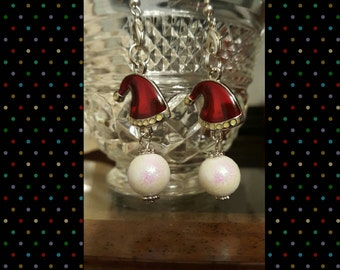Santa Hat Snowball Earrings