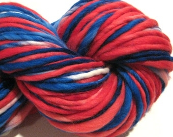 Handspun Yarn Patriot 128 yards hand dyed merino wool red white blue yarn waldorf doll hair knitting supplies crochet supplies