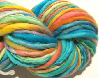 Handspun Yarn Easy Peasy 94 yards hand dyed merino wool rainbow yarn waldorf doll hair knitting supplies crochet supplies