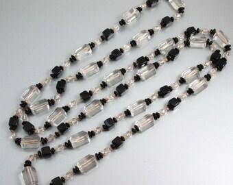 Art Deco Necklace, Beaded Sautoir, Black, Clear Hexagon Art Glass Beads, 1920s