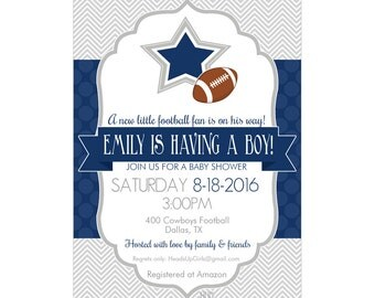 Captivating Personalized Dallas Texas Cowboys Football Baby Shower Invitations And  Envelopes One Dozen Printed For Boys Or
