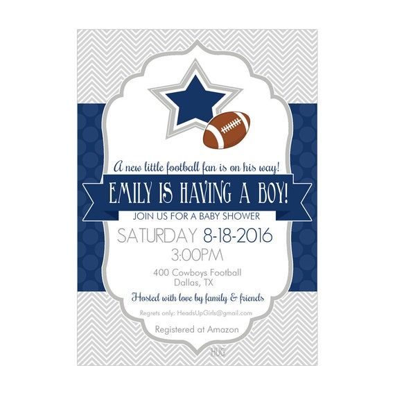 personalized dallas texas cowboys football baby shower invitations and