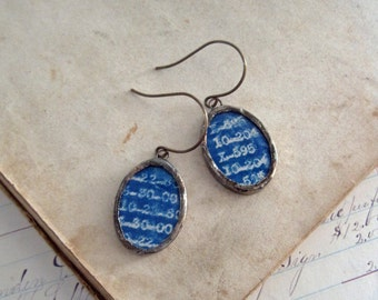 Vintage Blueprint Recycled Paper Earrings Glass Jewelry