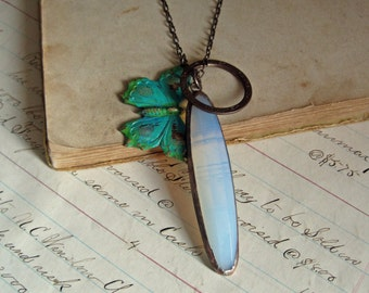 Stained Glass Boho Turquoise Butterfly Charm Necklace Faceted Glass Jewelry