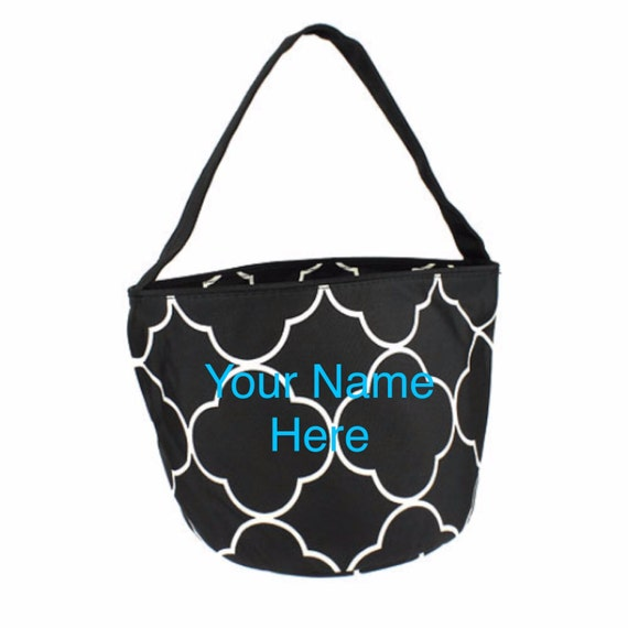 Bucket Tote Personalized Small Black Quatrafoil