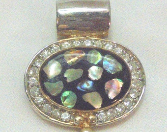 Silver-Gold Tone Enhancer, Slider, Abalone in Acrylic Surrounded with Rhinestones