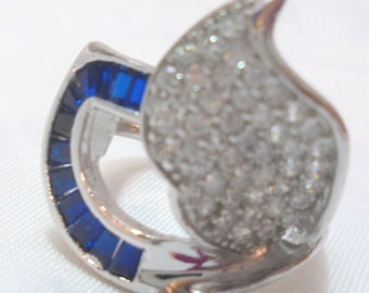 Sterling Silver Sapphire AB Crystal Ring Size 7 1/2