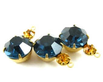 2 - Vintage Faceted Round Glass Stones in 1 Ring 2 Stones Brass Prong Settings - Dark Sapphire & Topaz - 18x11mm .
