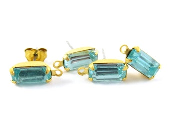 2 pcs gold plated rhinestone earring posts loop faceted vintage glass stones ear studs earring finding octagon 10x5mm aquamarine