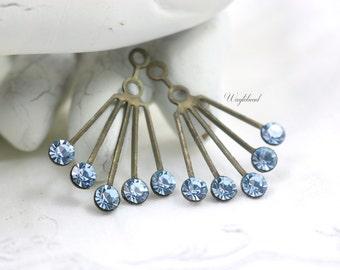 RARE Vintage Art Deco Style Brass Earring Dangle Swarovski Crystals Ear Jacket 30x21mm Aquamarine - 2