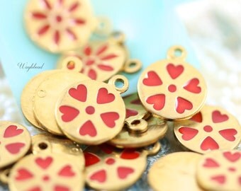 Vintage Style Heart Petals Flower Charms Pendants Red - 4