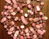 Beautiful 42 Inch Stunning Pink Vintage Crystal and Shell Knotted Necklace