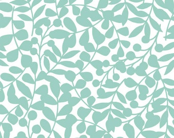 Flannel, Organic, Cotton, Baby, Boy, Girl, Fabric, Yardage, First Light, Turquoise, Blue, Branch, Leaves, Woodland, Cloud 9, Choose Your Cut