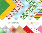 Wizard of Oz themed printable digital paper pack Emerald City DP107 instant download