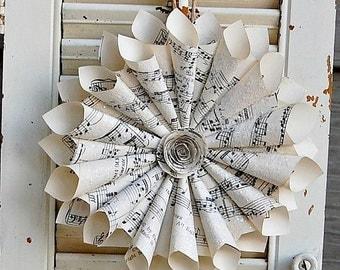 "Three - Holiday Wreaths / Sheet Music Wreath with Glass Glitter / Gift for Teacher / Hostess Gift  6-7"""