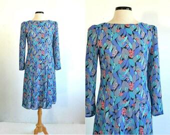 Semi Sheer Leaf and Floral Print Dress - Flapper inspired Asymmetric Waist - medium