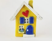 Little Clay House | Ceramic House | Miniature House | Whimsical house | Yellow House | Fairy House Hearthome by Beth Macre