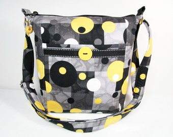 Contemporary Dot Handmade Fabric Purse / Cross Body Handbag / Pockets Front and Back