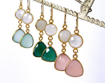 Pretty Girl gemstone and moonstone dangle earrings 14k gold filled wires pink green blue