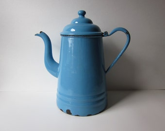 Manning Bowman Blue Enamelware Gooseneck Coffee Pot
