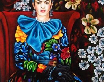 Mexican art print, Frida Kahlo print, Frida Dress, Folk Art, Mexico, Portrait of Frida Kahlo in a Floral Dress