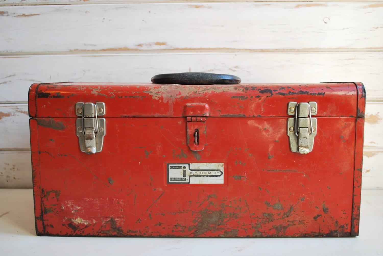 Vintage Red Toolbox Waterloo Industries Metal Toolbox Red