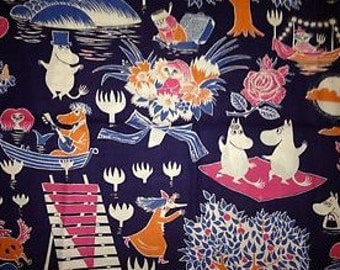 "Moomin Blue Taikamuumi cotton fabric, 60"" wide, one yard (36""), from Finland"