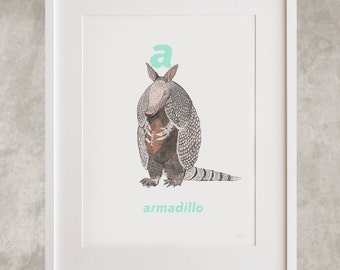 A for Armadillo Letter Print