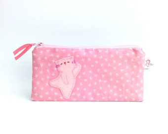 Pink cat pencil case cute fabric pencil case Cute cat cosmetic make up pouch School supply cat lover gift cat lady gift - Kitty Dancing