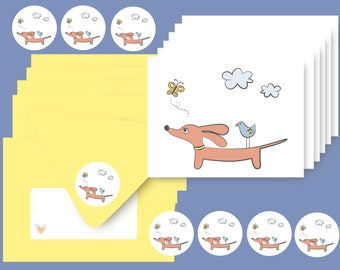 Dachshund Cards - Set of 6 with Envelopes and Stickers - Doxie and Bird Friend Stationery