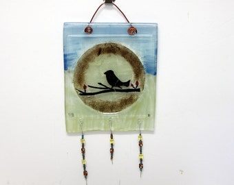 Bird Hand Painted fused glass art Wall Decor