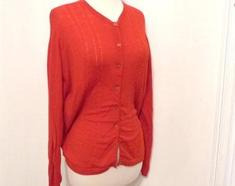 Vintage Pendleton Fine Gauge Wool Knit Cardigan Sweater with Cables Vintage Crimson Scarlet ButtonDown Wool Top Preppy BYO Pearls sz 40-42