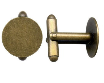 6 Pair (12 pieces) Cufflinks with 15mm Glue Pad Antiqued Brass Plate DIY Blanks Supply