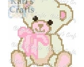 Pink and Off White Teddy Bear C2C Corner to Corner Afghan Baby Blanket or Pillow PDF Pattern Graph + Written Instructions-Instant Download
