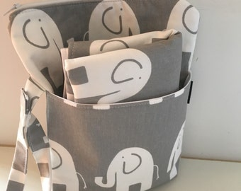 Grey Elephant Nappy Bag and Wipeable Mat - All in one changing kit